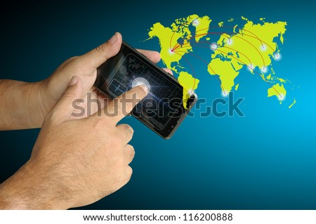 Hand of Business man touch smart phone with virtual digital network interface or environment