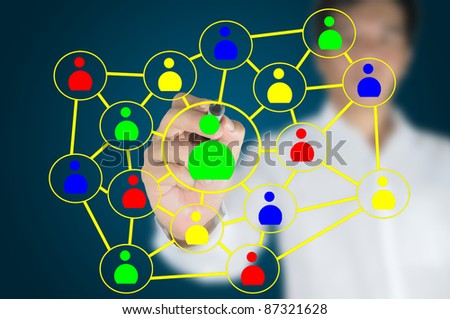 Hand of business man write a social network chart or diagram