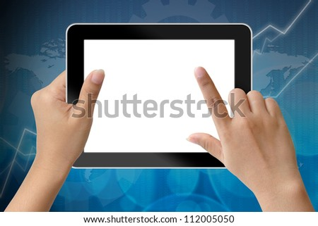 Hand of business woman holding digital tablet and touching with blank screen