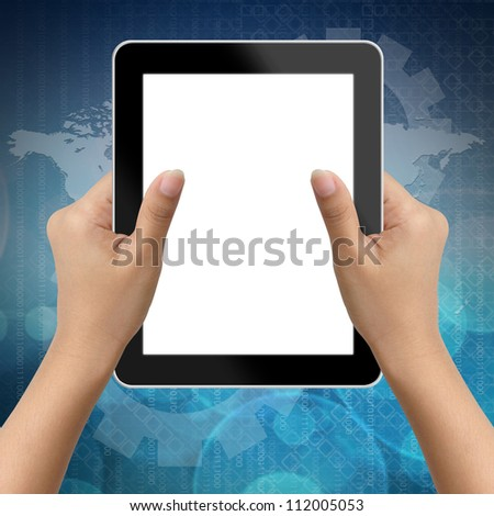 Hand of business woman holding digital tablet with blank screen