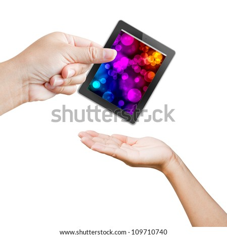 hand of business women holding and touching on touch pad