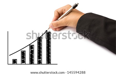 hand of business writing graph