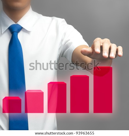 Hand of businessman and his graph for presentation