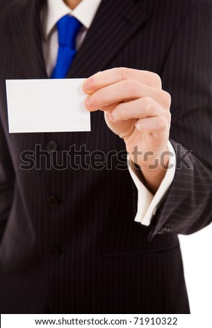 Hand of businessman offering business card on white background
