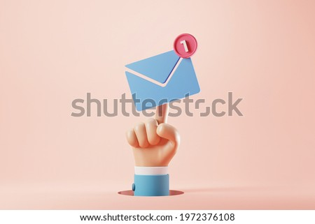 Hand of businessman pressing an new email notification icon with one e-mail message. minimal design. 3d rendering