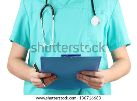 Hand of doctor with prescription blank, isolated on white