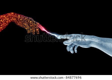 Hand of God and Adam made of fire and ice on black