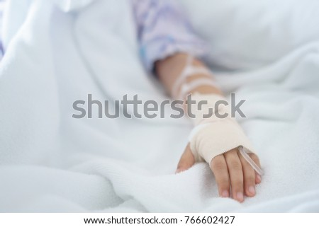 hand of Little girl was sick in hospital room,selective focus , selective focus #766602427