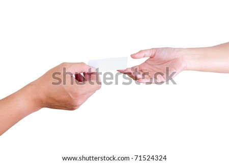hand of man give name card to woman