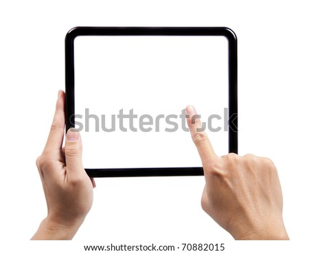 Hand of man holding a black frame and finger try to touch