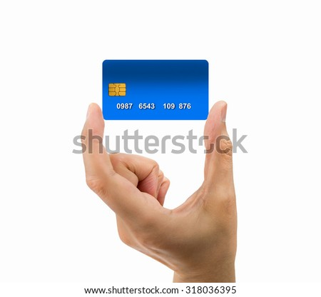 hand of man holding the credit card isolated on white background