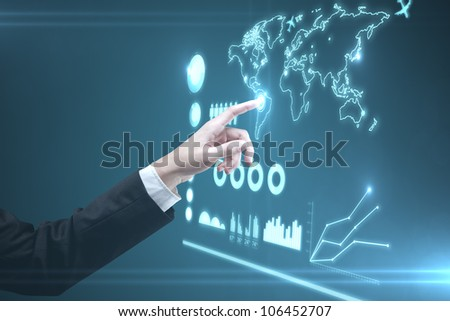 hand of man pushing interface, closeup - stock photo
