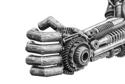 Hand of metallic cyborg sculpture made from scrap metal isolated on white background with clipping path