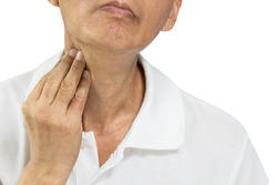 Hand of middle aged man was groping,checking the pain and swelling in the neck,sore throat and cough,thyroid nodule,lump in throat from tumor,thyroid cancer,inflammation of the lymph nodes,tonsillitis