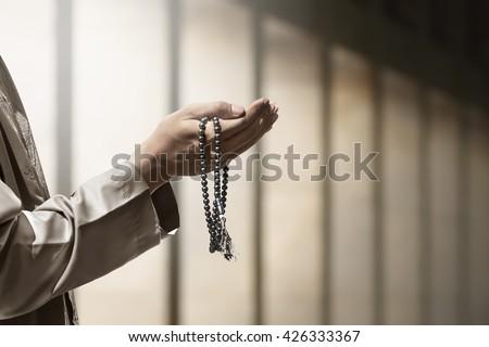 hand of muslim people praying...