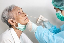 Hand of nurse hold a swab,use to insert it into the nostril of senior patient,medical taking a swab for nasal mucus test from old elderly,examination COVID-19,check for Coronavirus during the pandemic