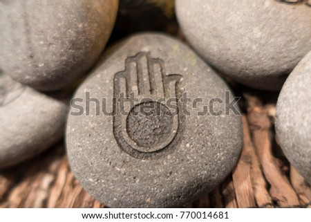 hand of peace etched in stone #770014681