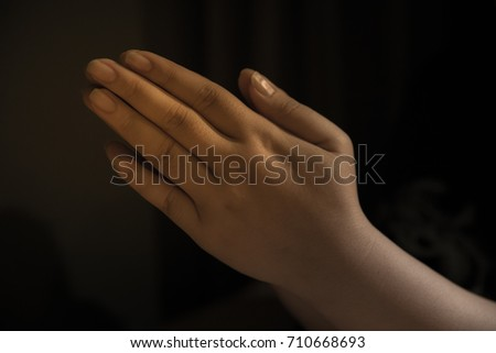 hand of prayer to God for life and health #710668693