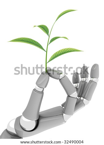 Hand of robot keeps plant on white background