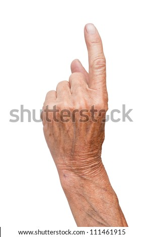 hand of the old man isolated on a white background
