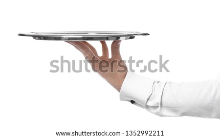 Hand of waiter with empty tray on white background Foto stock ©