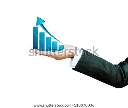 Hand of women business graph