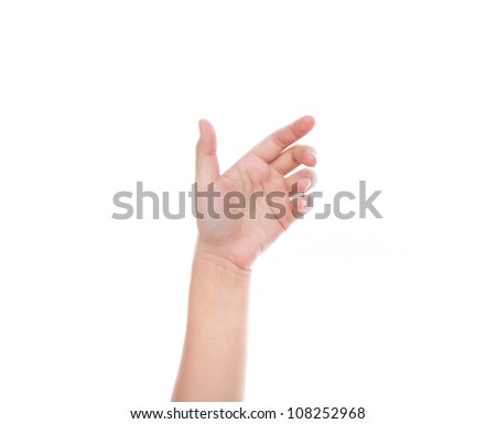 Hand of women to hold card, mobile phone, tablet PC or other  isolated on white background