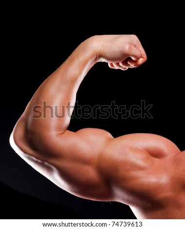 Hand of young man bodybuilder with biceps