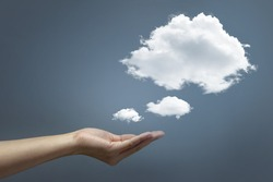 Hand offer the cloud, Hand and cloud concept world wide data sharing and communication.