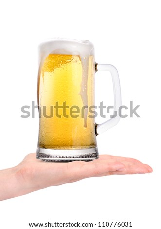 hand offering glass of beer  isolated on a white background.making toast