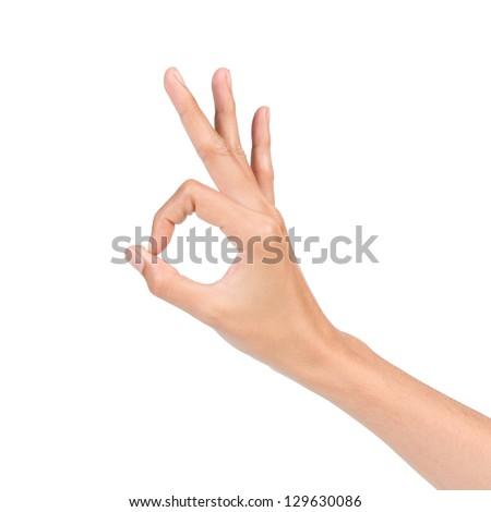 Hand OK sign isolated on white background