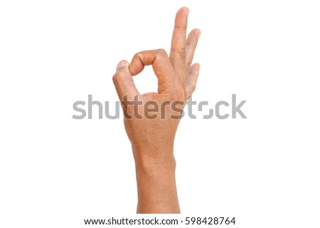 Hand OK sign isolated on white background #598428764