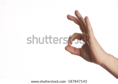 Hand OK sign on isolate white background with copy space. #587847143