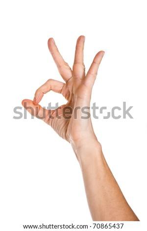 Hand OK sign on white background.
