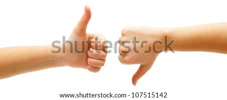 Hand. On a white background. Isolated.