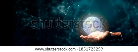 Hand on digital technology cyber space smart world metaverse, futuristic smart digital solution internet of thing wireless technology.