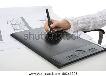 hand on graphic tablet.. Isolated on white background