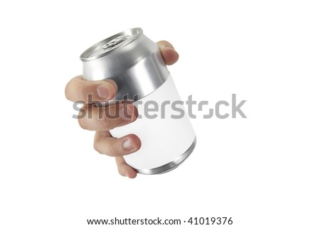 hand on white background with a can