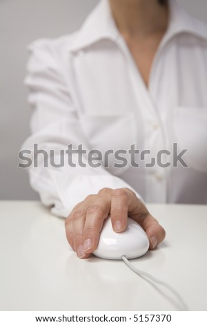 Hand on white mouse.