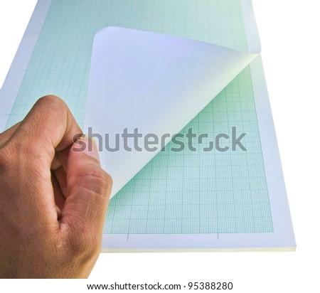 hand open graph paper