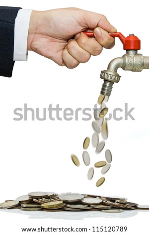 Hand open water tap with coins falling