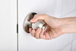 Hand opening door, Door knob, Touching public surface transmission germ virus.