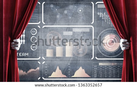 Hand opening red curtain and drawing business graphs and diagrams behind it #1363352657