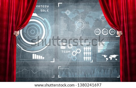Hand opening red curtain and drawing business graphs and diagrams behind it #1380241697