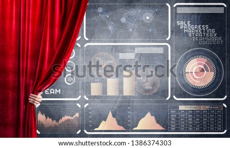 Hand opening red curtain and drawing business graphs and diagrams behind it #1386374303