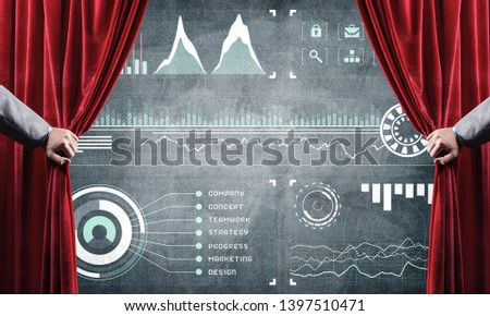 Hand opening red curtain and drawing business graphs and diagrams behind it #1397510471