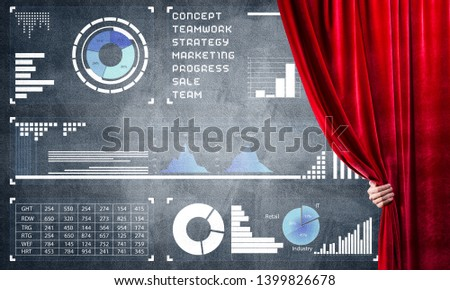 Hand opening red curtain and drawing business graphs and diagrams behind it #1399826678