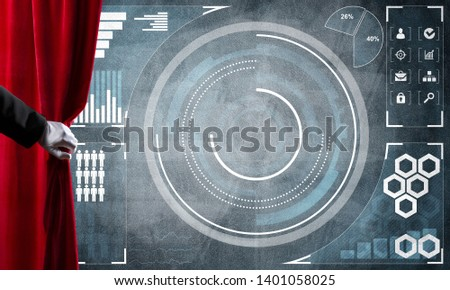 Hand opening red curtain and drawing business graphs and diagrams behind it #1401058025