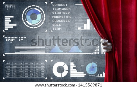 Hand opening red curtain and drawing business graphs and diagrams behind it #1415569871