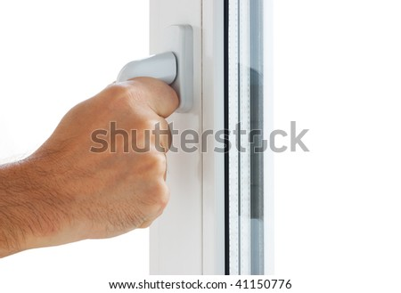 hand opens a window isolated on white